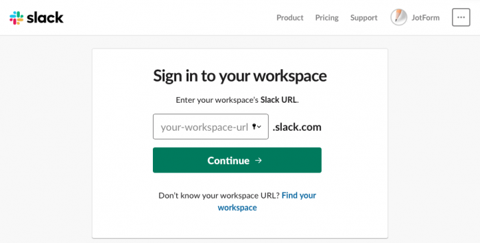 """sign in to your workspace"" screen"