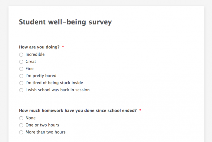 student well-being survey template