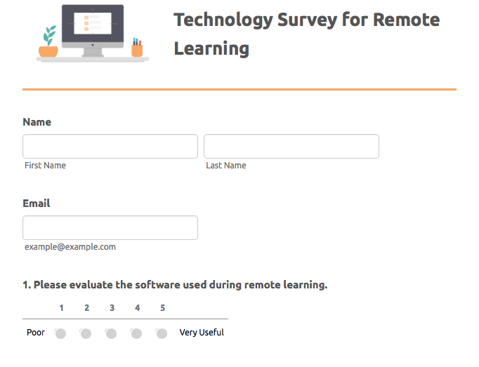 technology survey for remote learning template