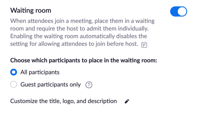 waiting room options in Zoom