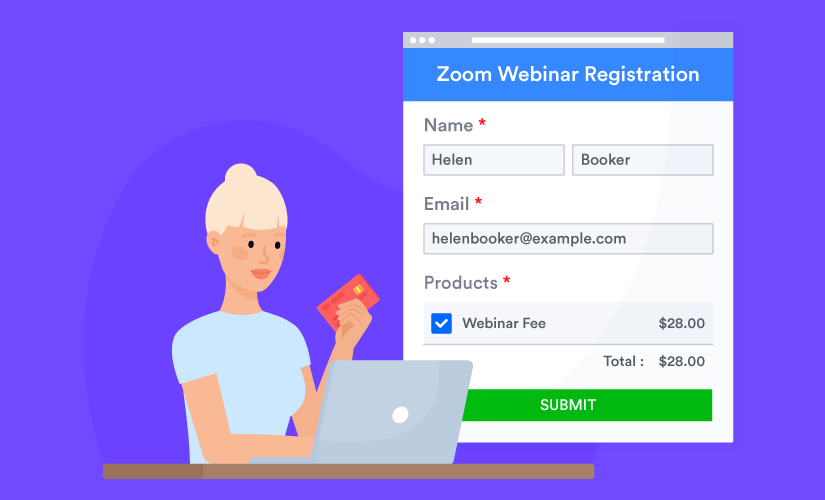 Woman pays Zoom webinar fee through the online form