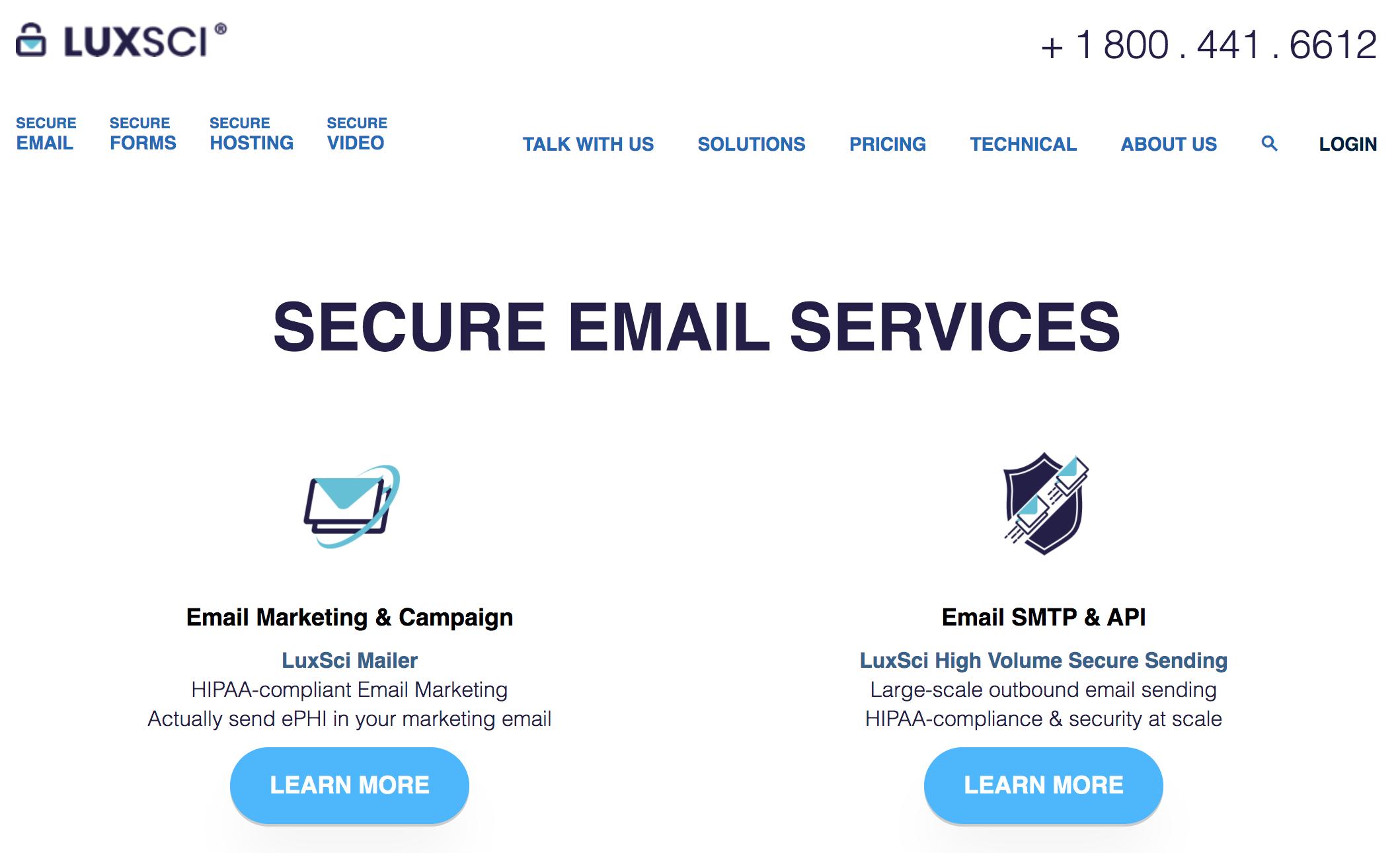 luxsci hipaa compliant email