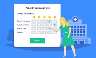 Patient filling out a patient satisfaction survey