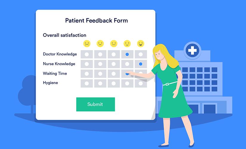 Patient filling out a patient satisfaction survey