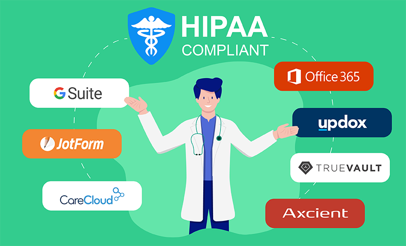 A Doctor pointing 7 HIPAA compliant softwares with his hands.