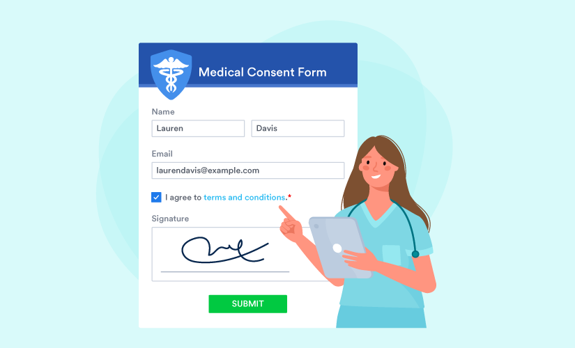 a doctor pointing out informed consent form