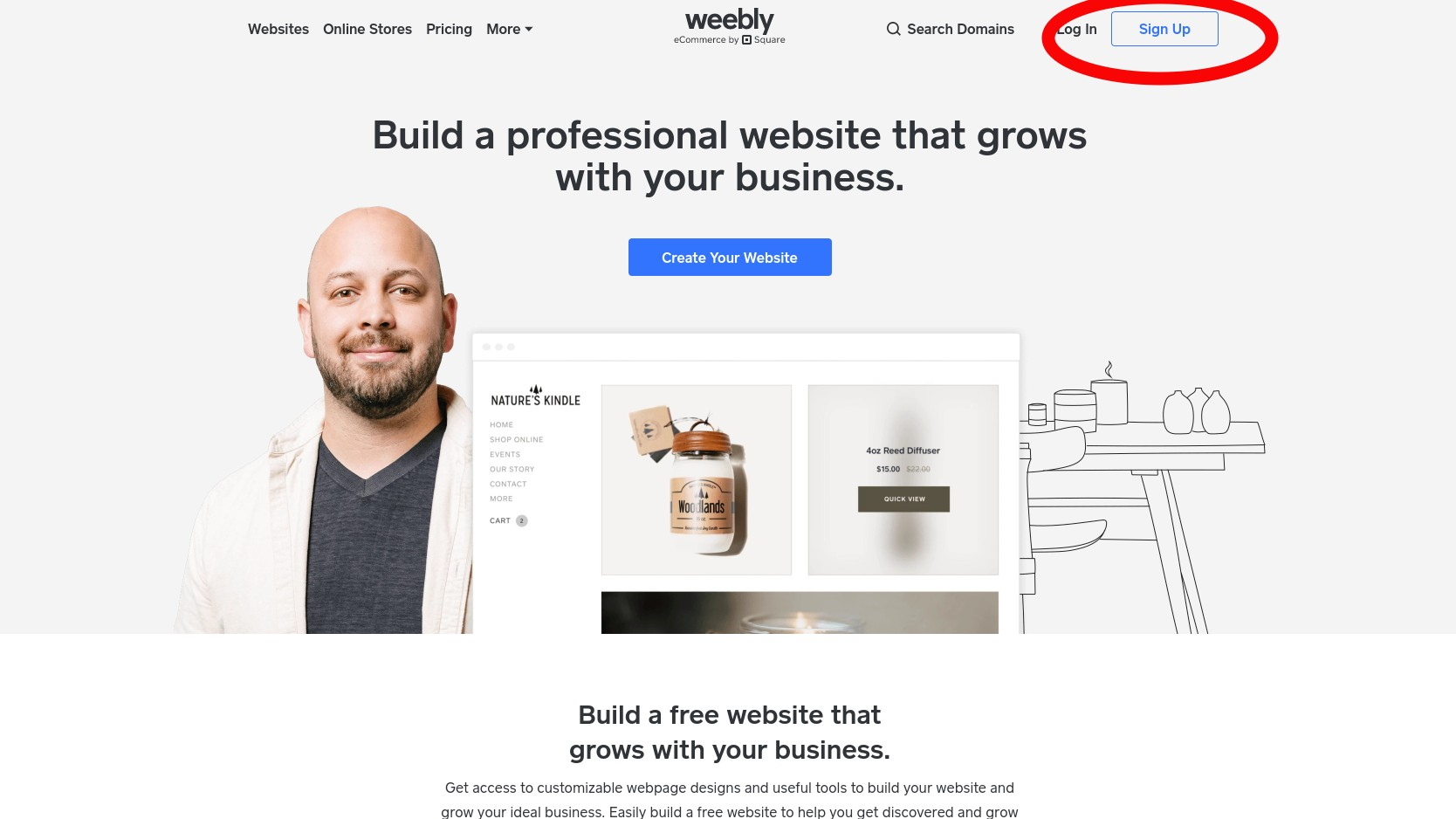 weebly homepage signup button