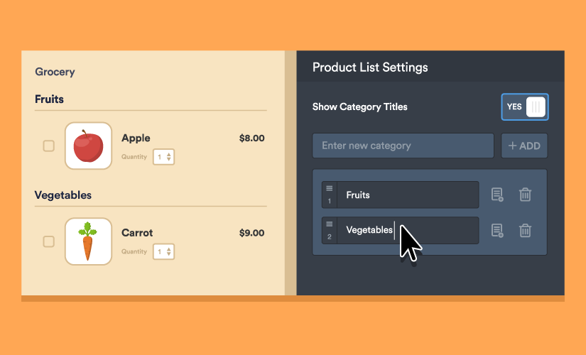 Announcing product categories for order forms