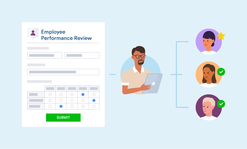 A manager filling employee performance review form