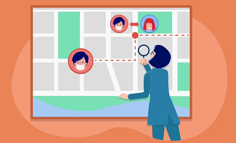 Doctor tracing a patients past contacts on a map