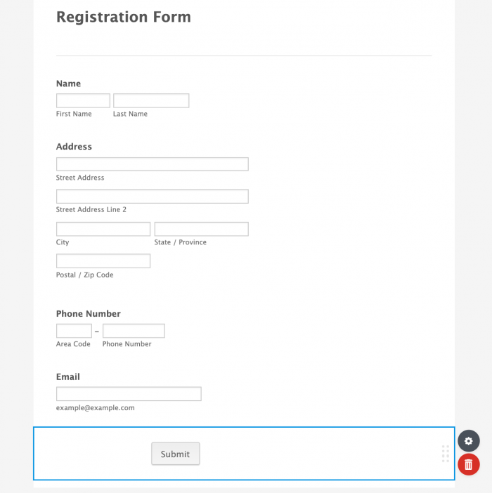registration form submit button