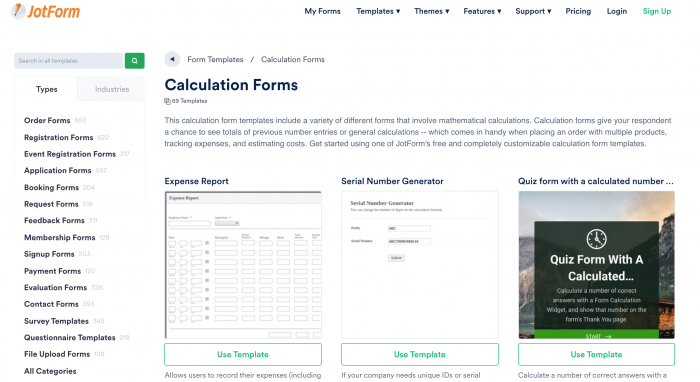 calculation form templates
