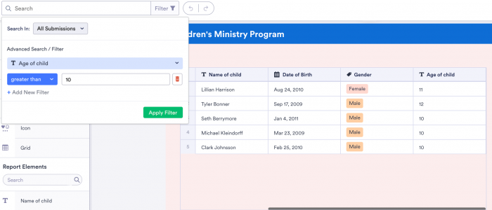 Filter of JotForm Report Builder