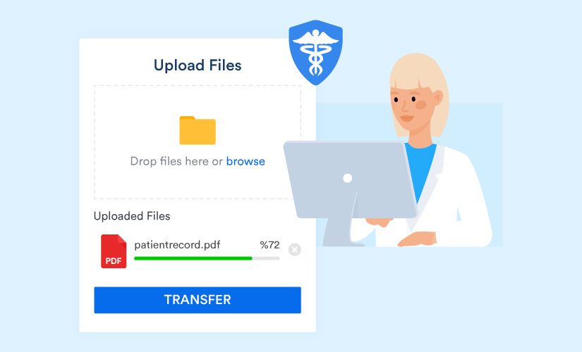 Doctor transfers a file through HIPAA compliant FTP server