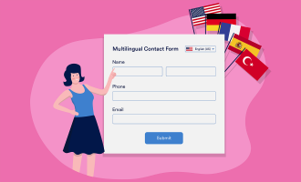 Woman filling multilingual form f