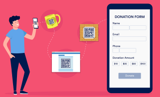 man using his phone to check qr codes and opens a donation form
