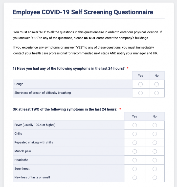 Employee COVID-19 self-screening questionnaire