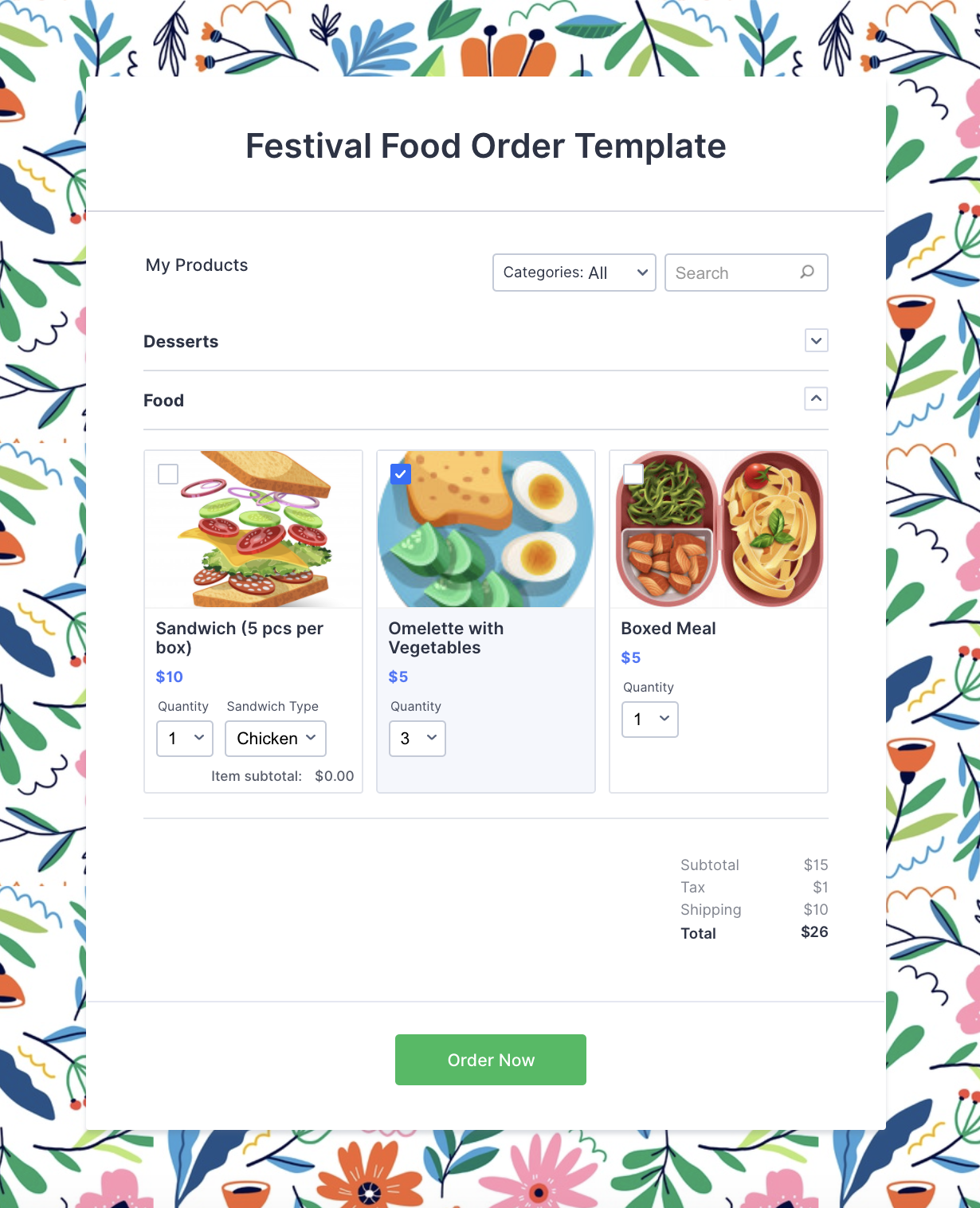 Product order form with paypal payment integration