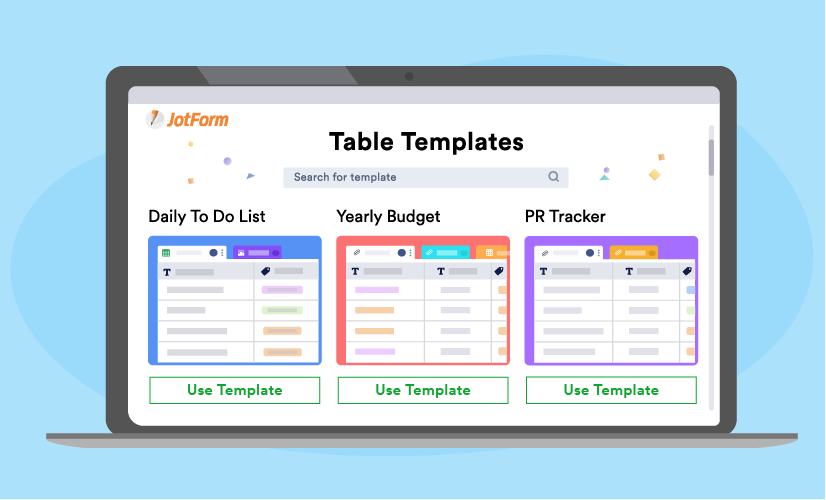 10 templates to help you get started with JotForm Tables
