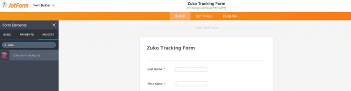 zuko form analytics widget on jotform