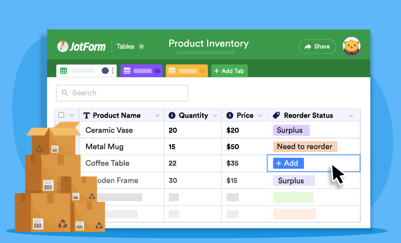 Managing your year-end inventory with JotForm Tables