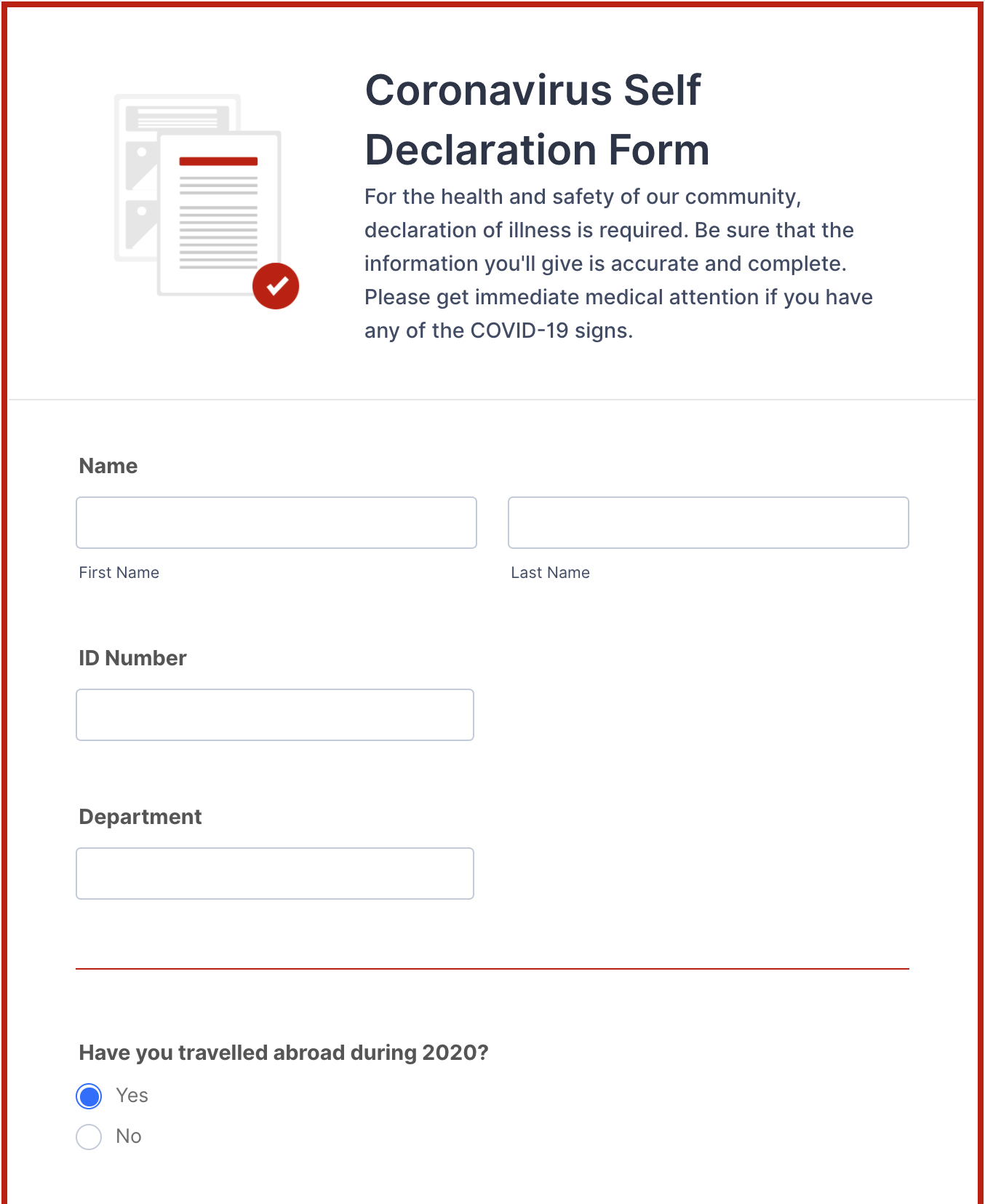 coronavirus self declaration form