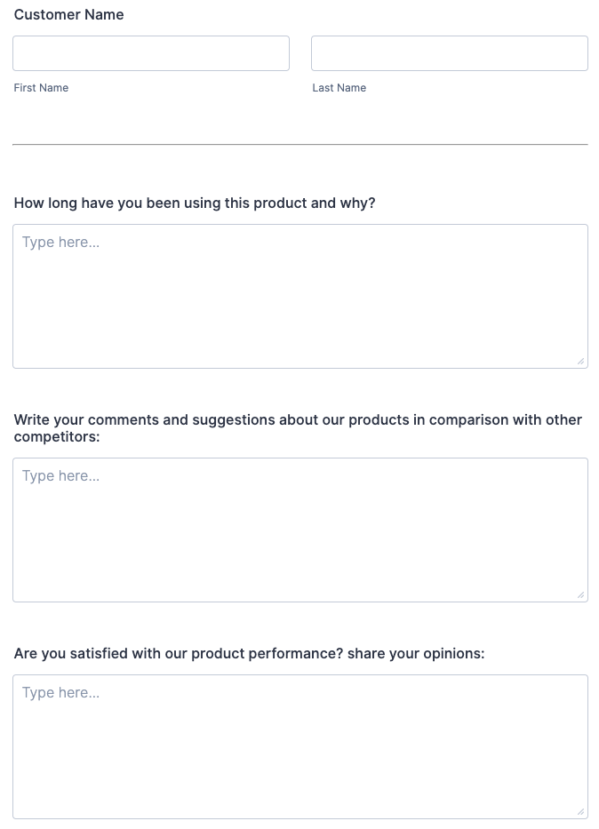 product survey form