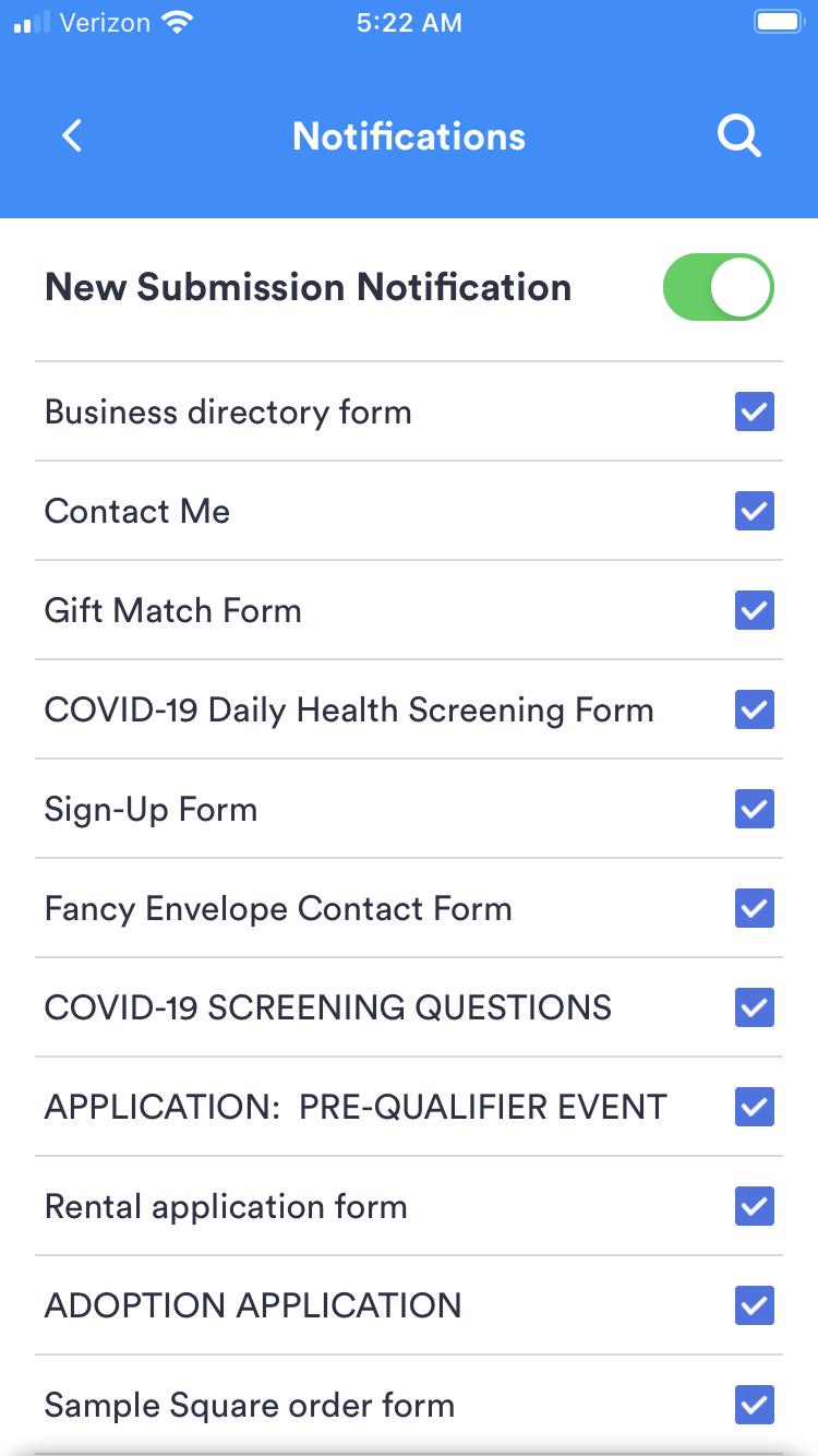 Notification options in JotForm Health App