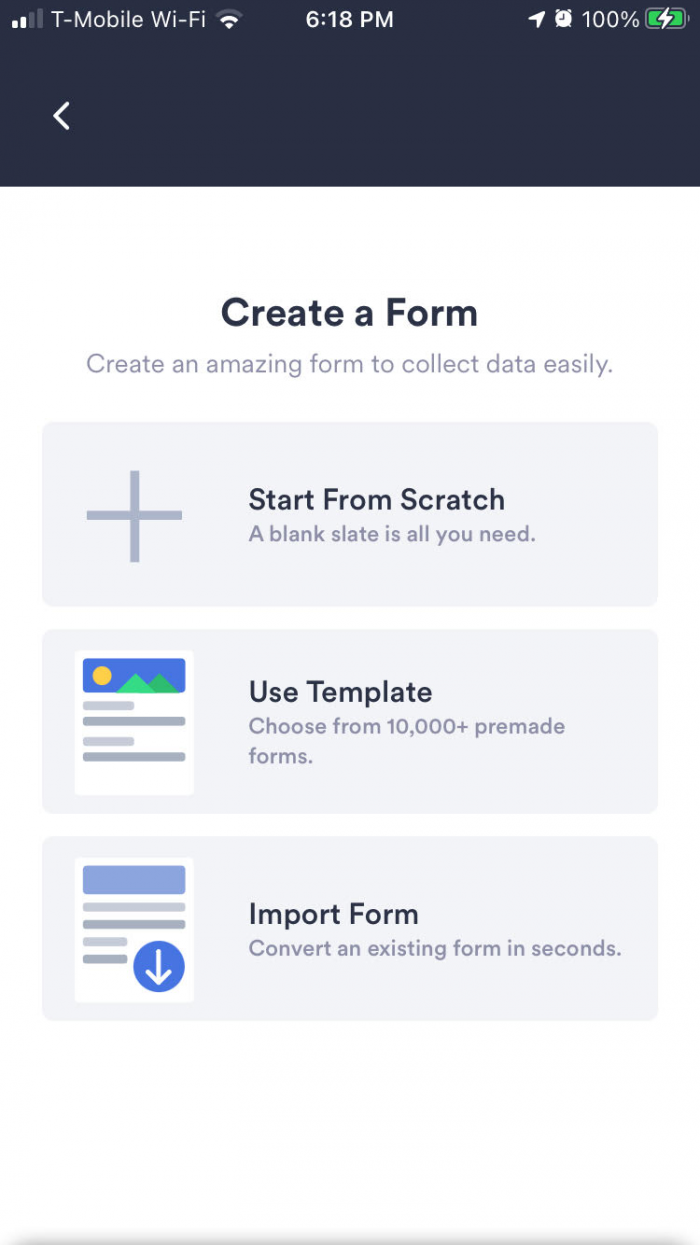Create a Form in JotForm Mobile Forms App