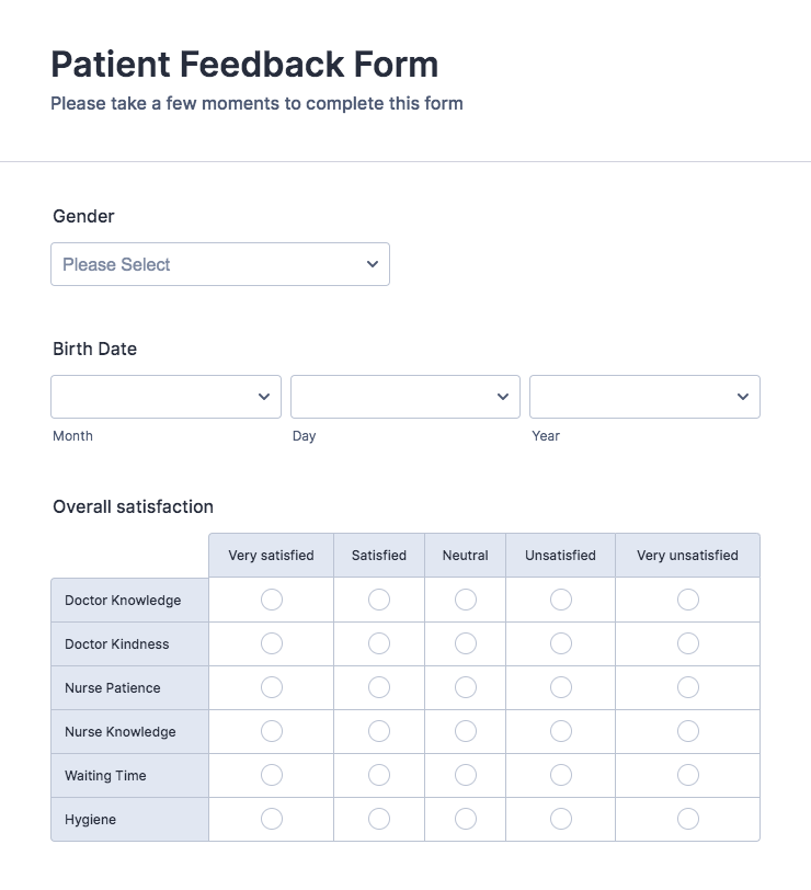 Patient Feedback Form Template