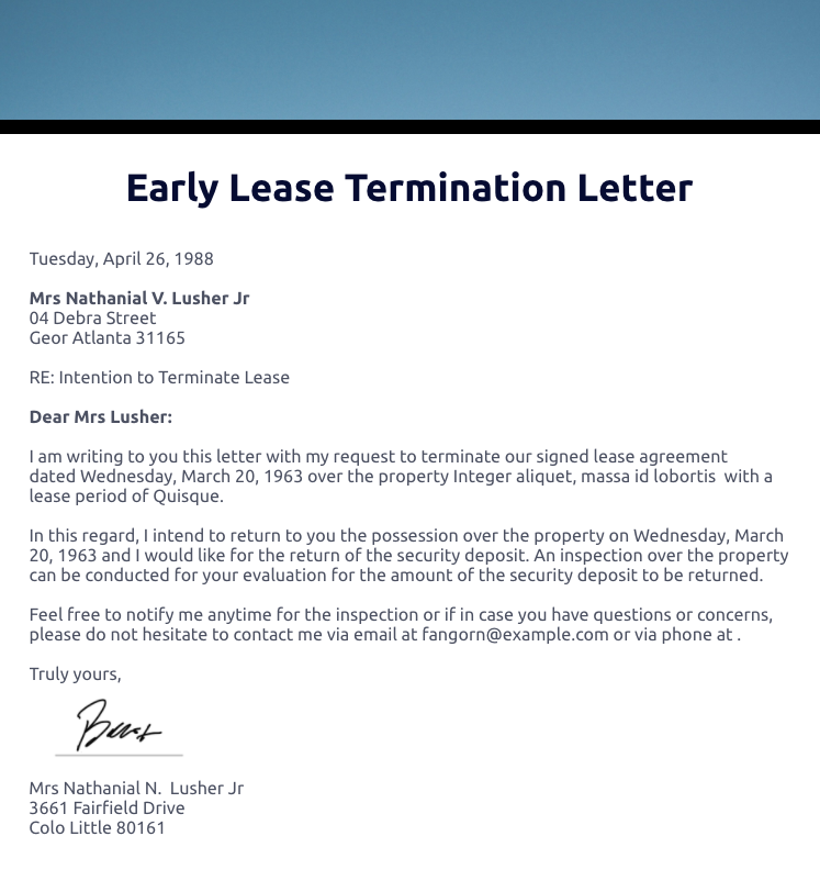 Early Lease Termination Letter Template