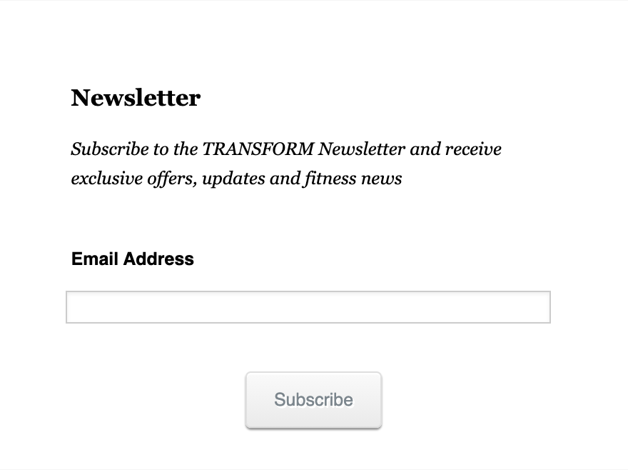 Email Newsletter Subscription Form Template