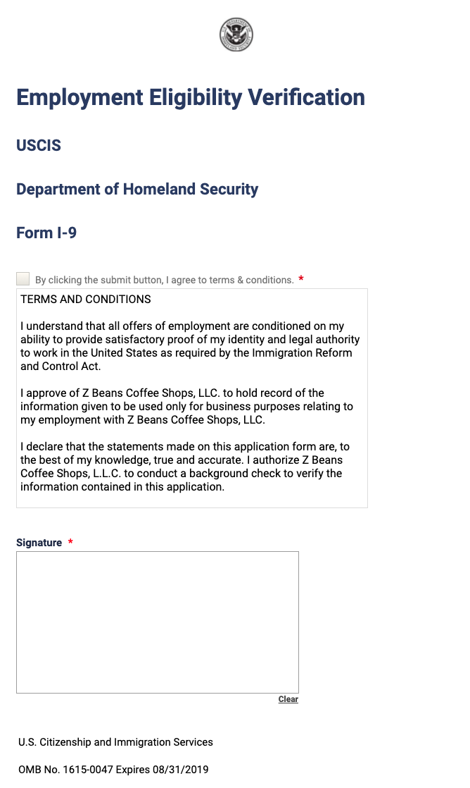 Employee I-9 Form Template
