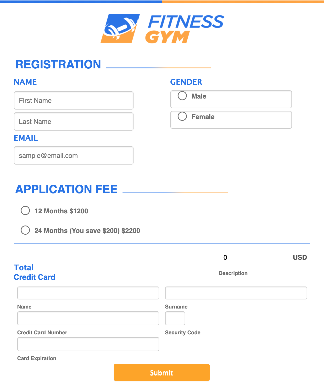 Fitness Gym Registration Form Template