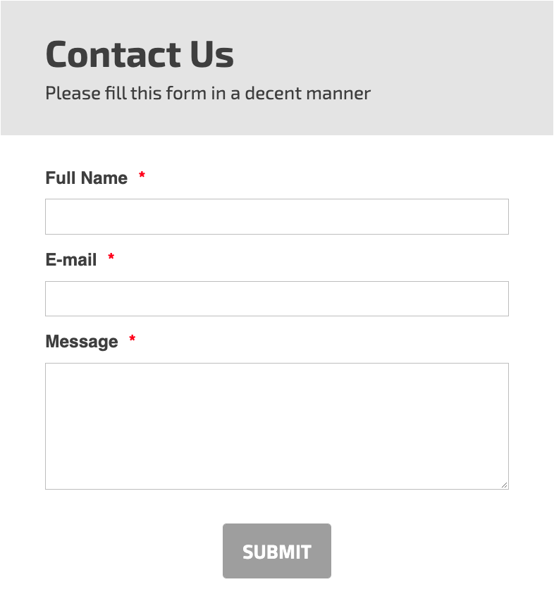 General Inquiry Contact Form Template