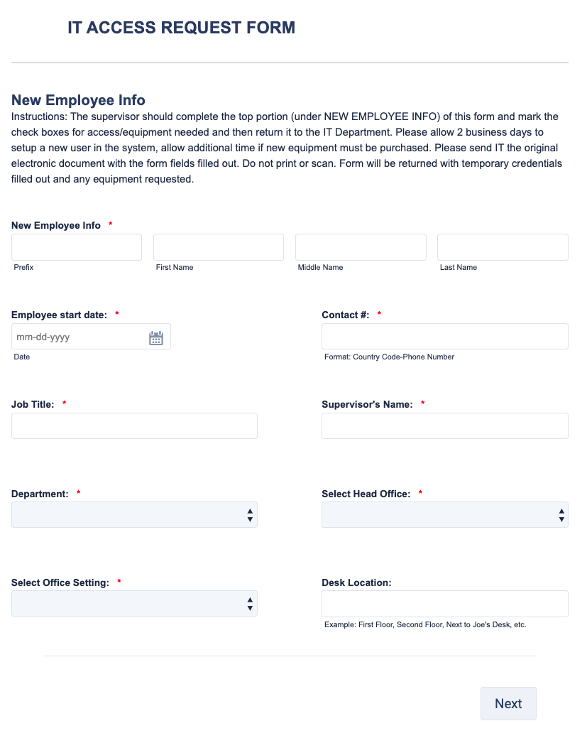 IT Access Request Form V2 Template