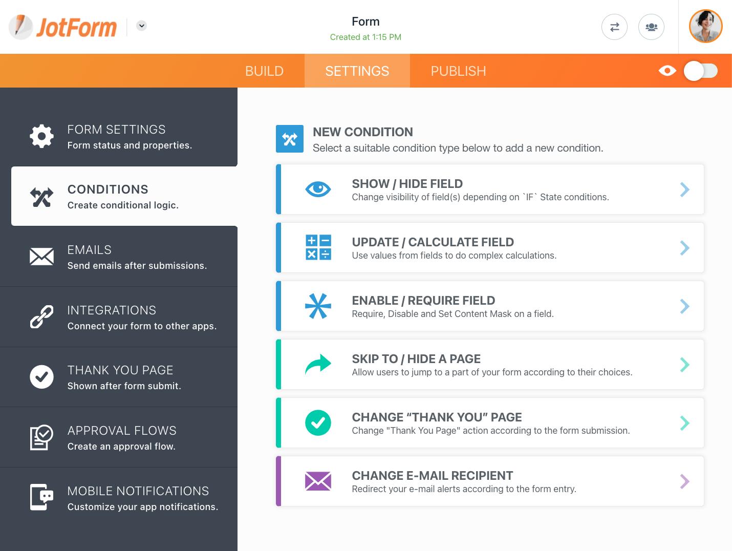 JotForm Smart Forms: Conditional Logic