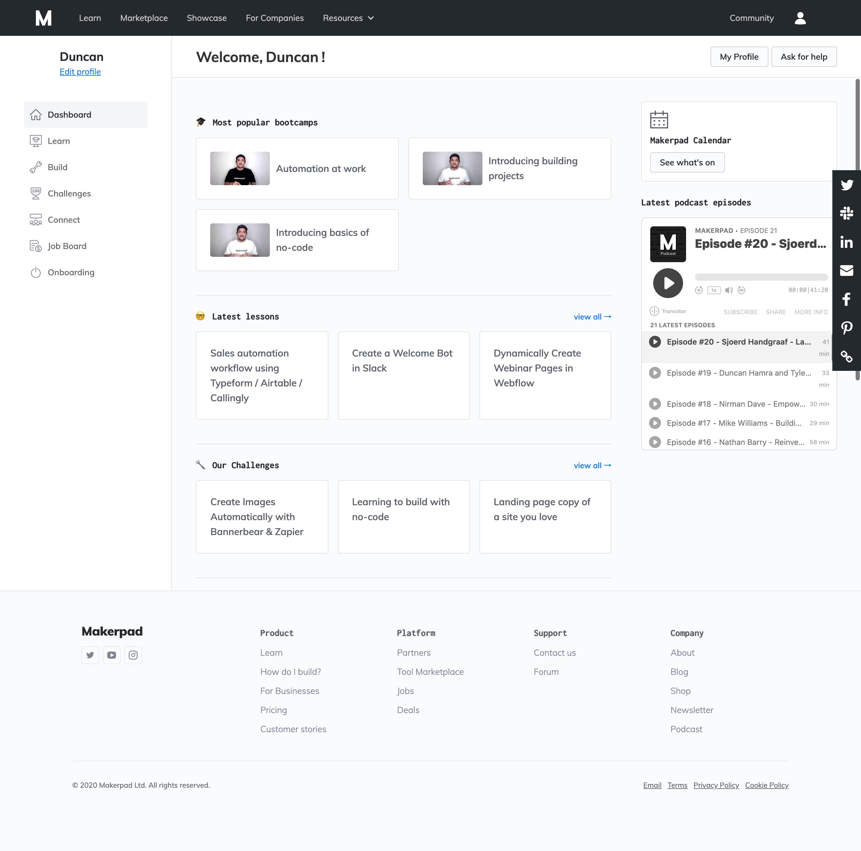 Makerpad Dashboard