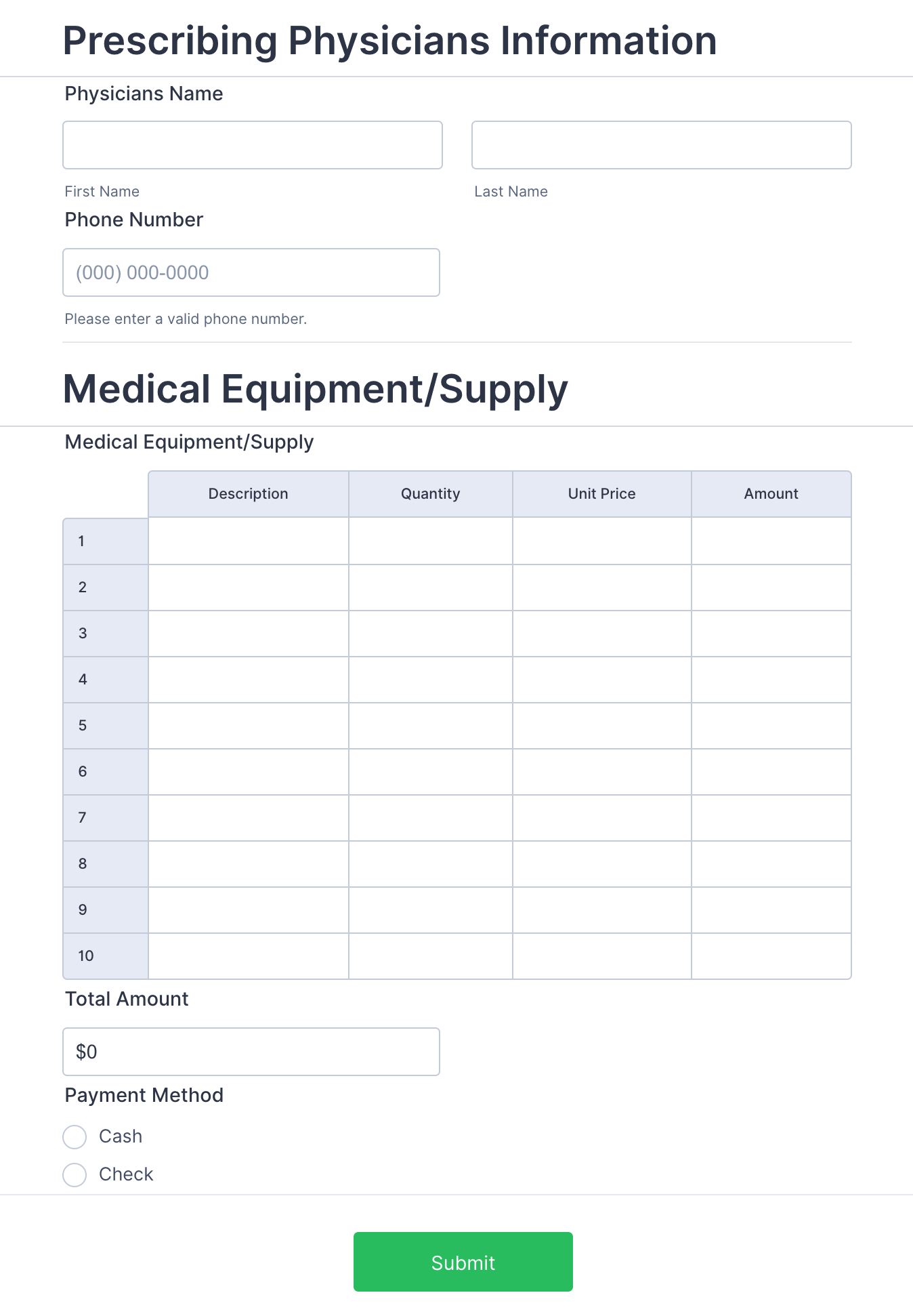 Patient Supplies Order Form Template