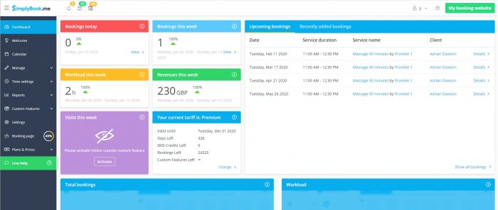 SimplyBook.me Dashboard