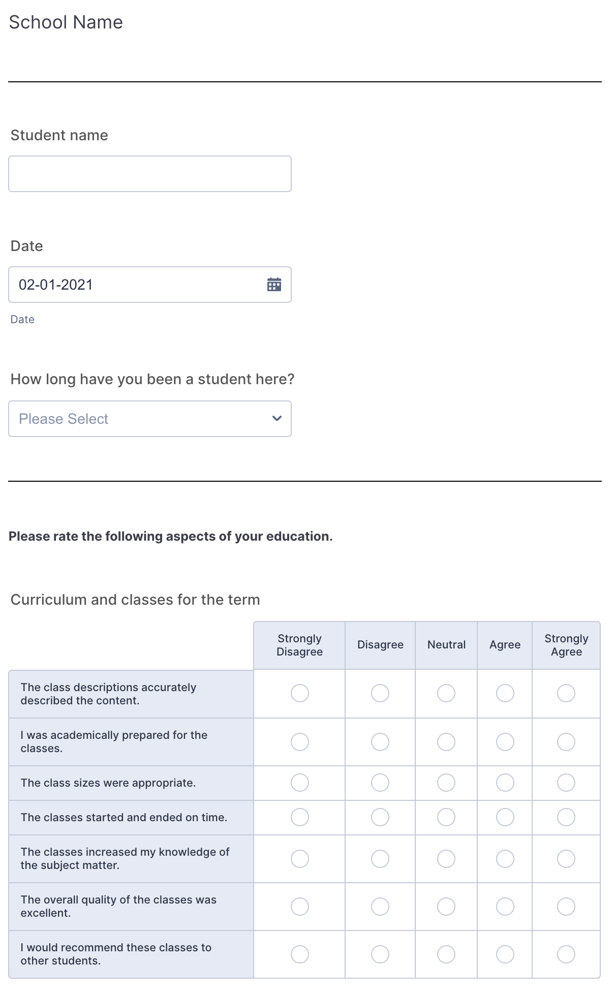 Student Survey Template