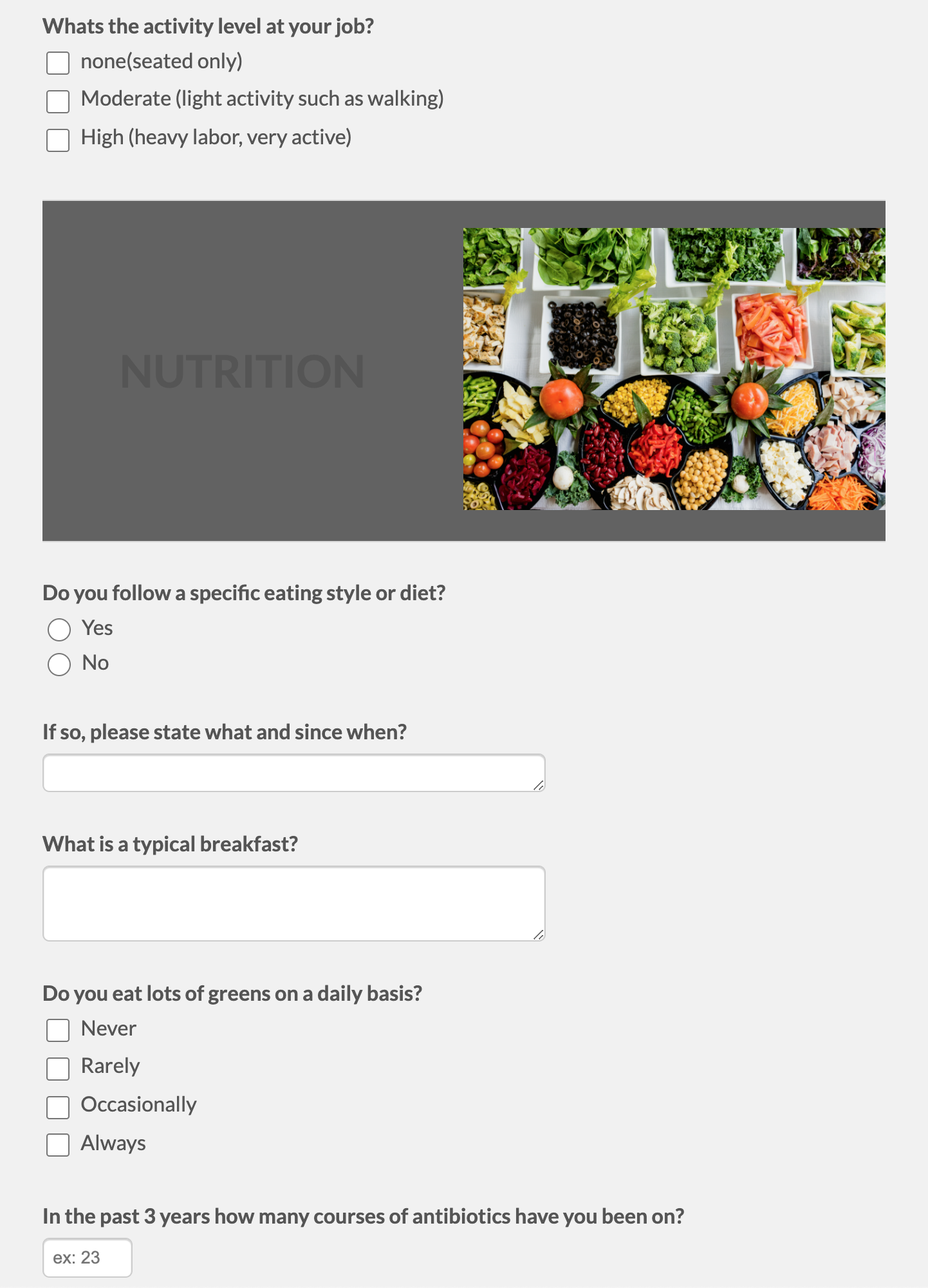 Wellness Consultation Questionnaire Template