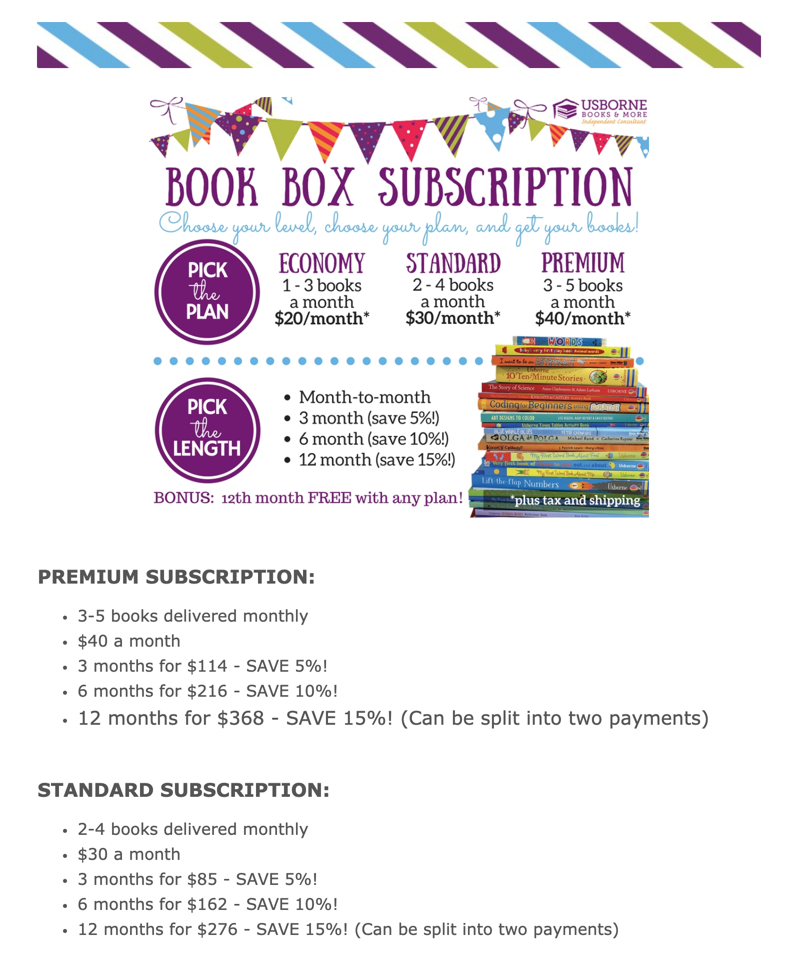 Book Box Subscription Information Template