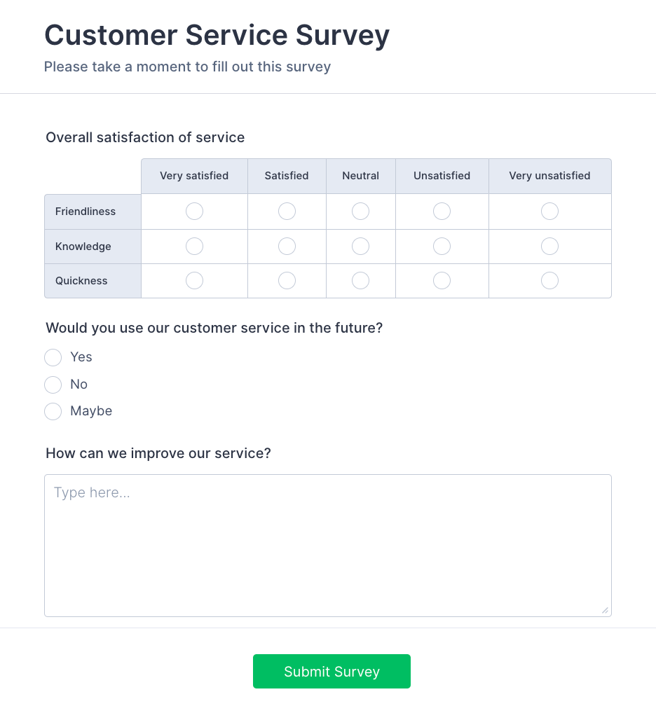 Customer-Satisfaction Survey Form Template