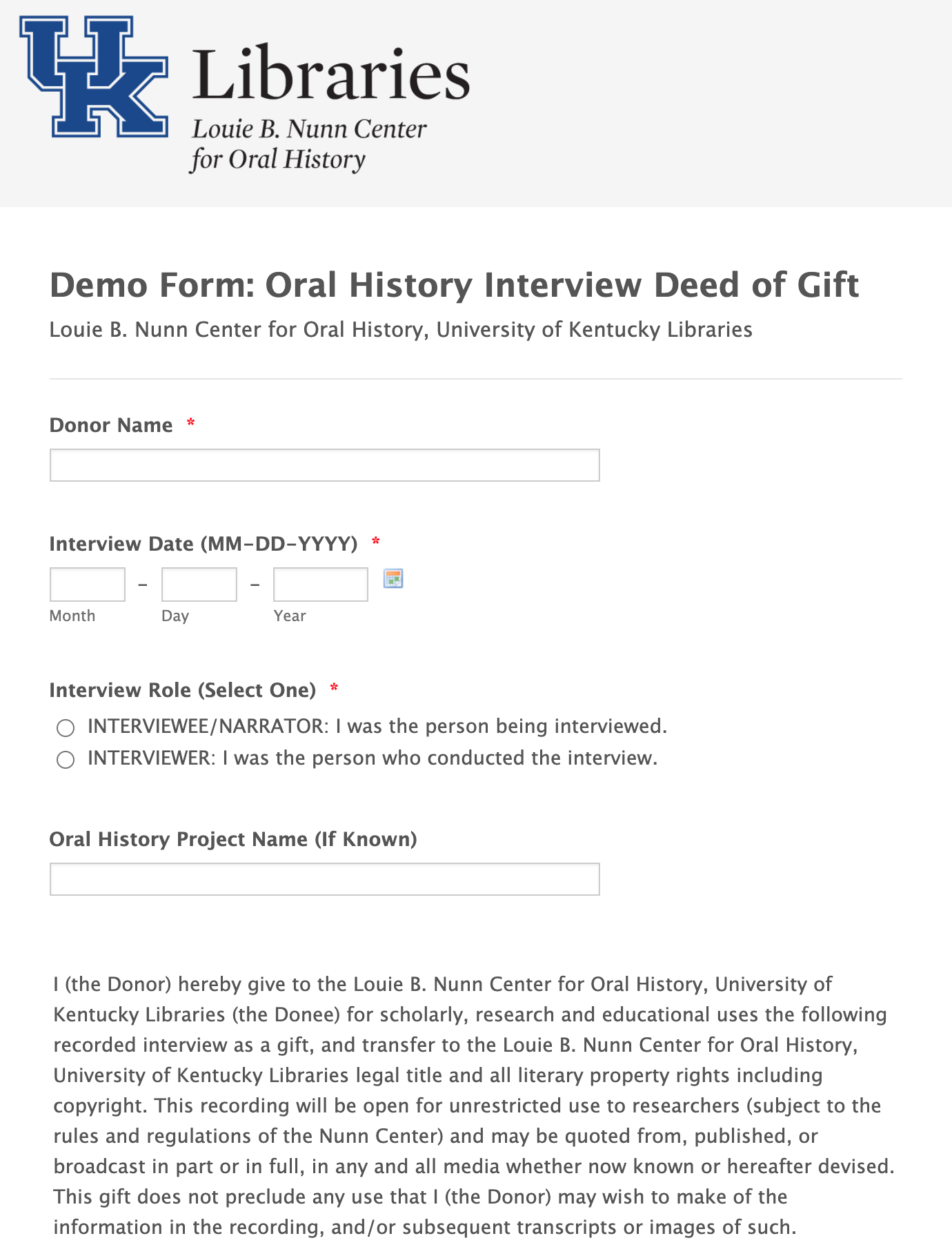Demo Form Oral History Interview Deed of Gift