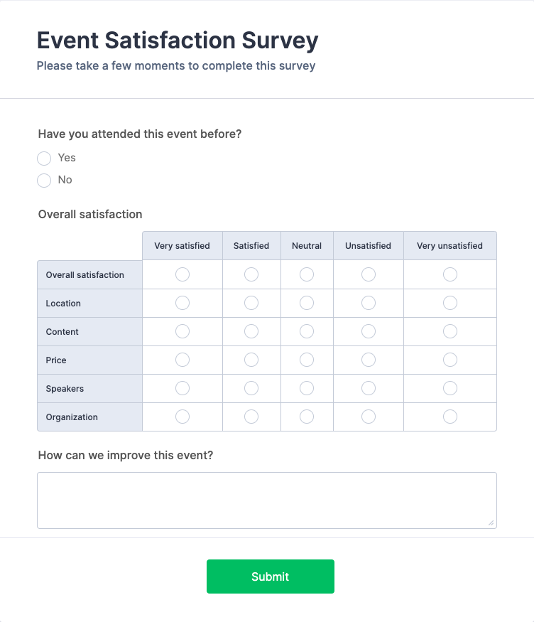 Event Satisfaction Survey Form Template
