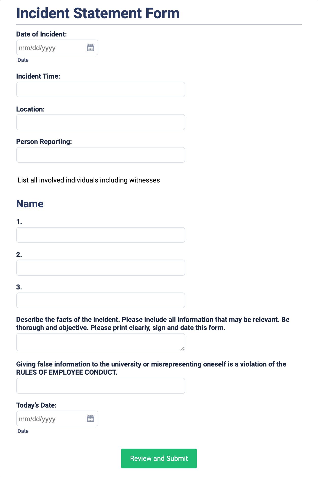Incident Statement Form Template