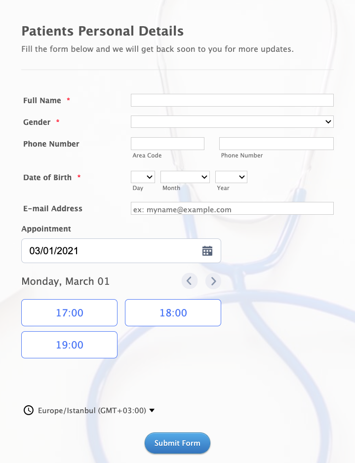 Online Doctor Appointment Form Template