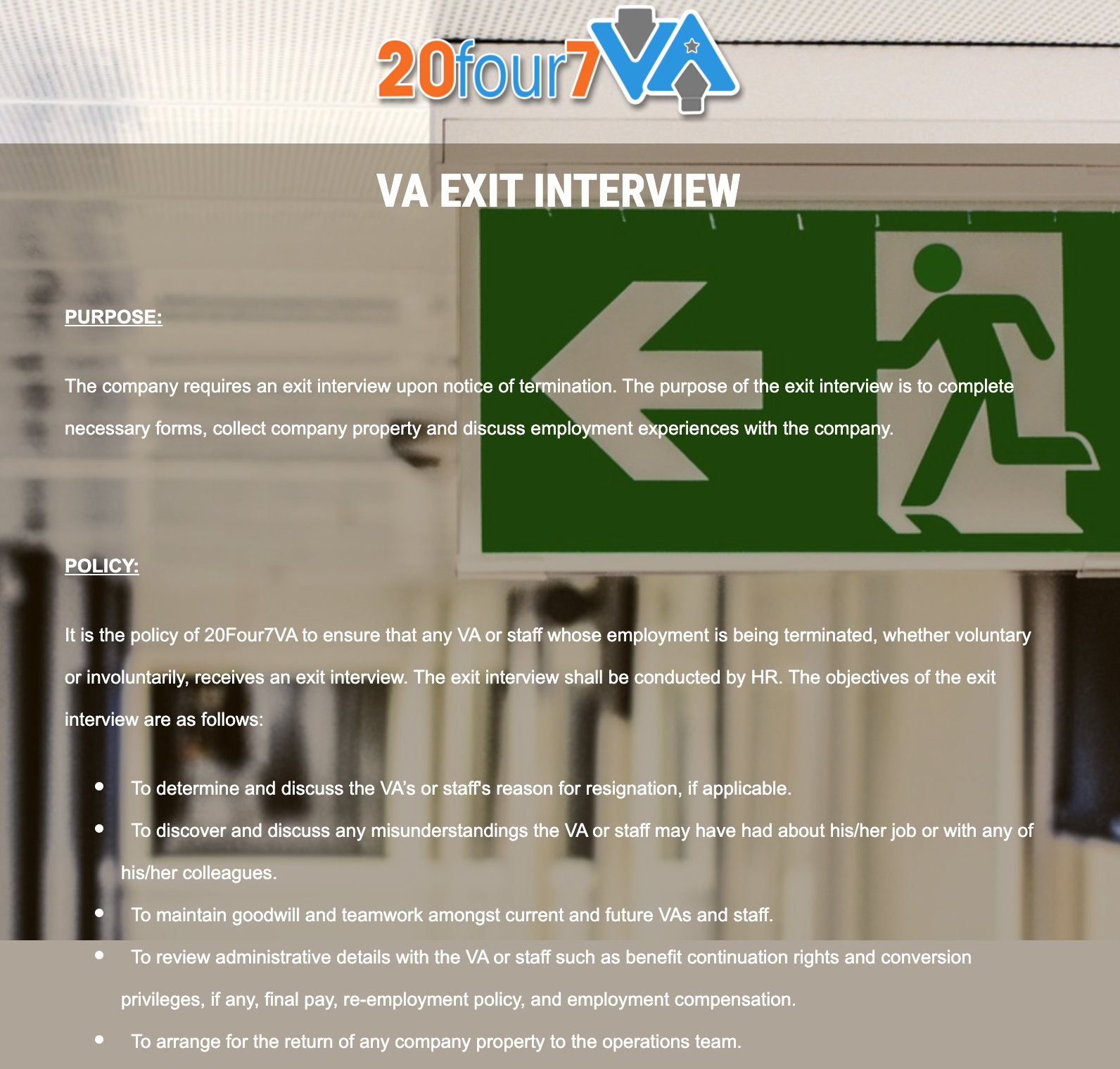 Online Exit Interview Form Template