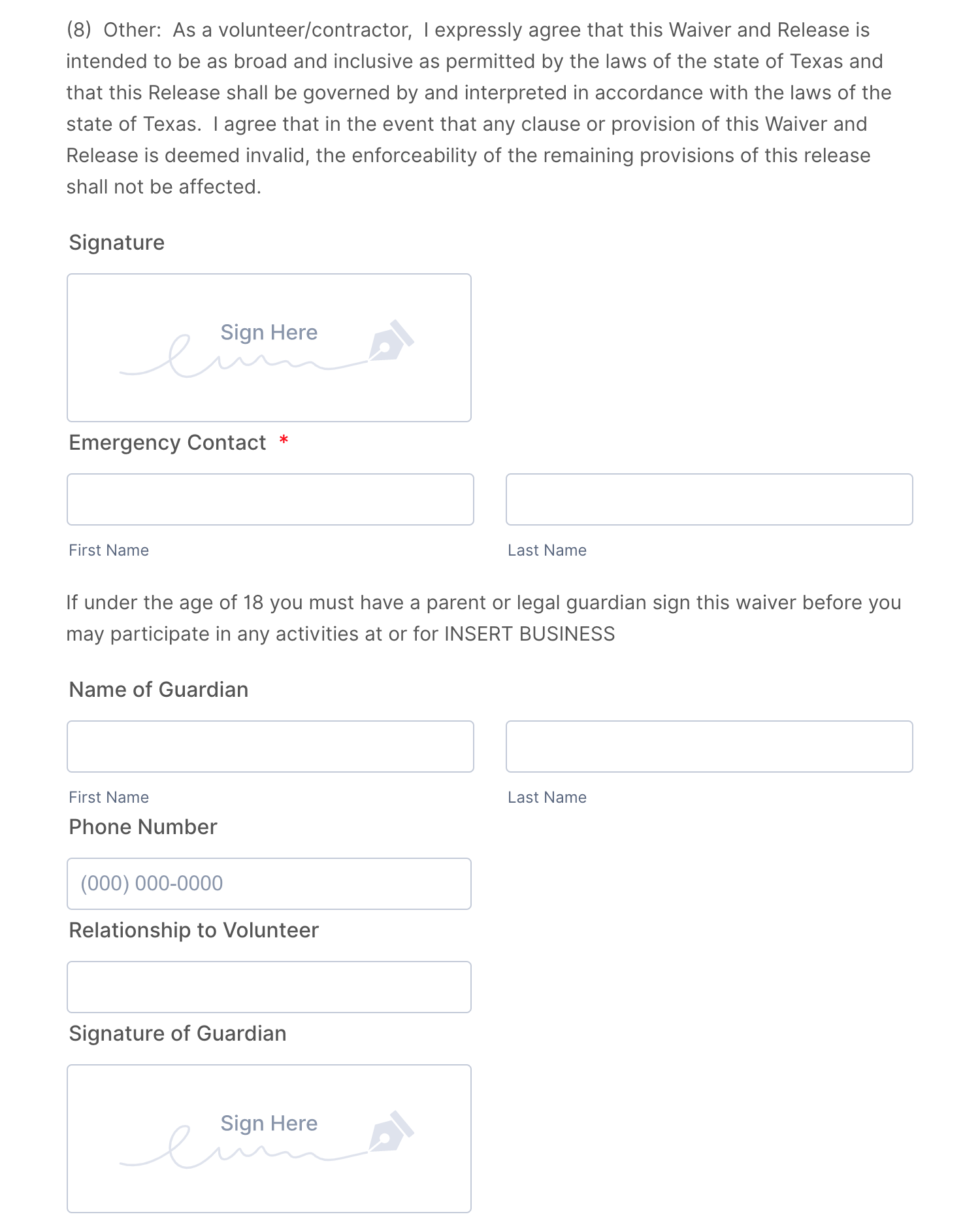 Volunteer Release and Waiver of Liability Form Template